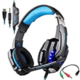 Game Headset, KOTION EACH G9000 3.5mm LED Light Gaming Headset for PlayStation 4 PS4 with Microphone for Tablet PC iPhone (Blue in Black)