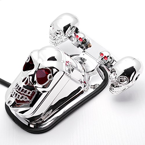 Custom Chrome Skull Integrated Brake Stop Tail Turn Signal Blinker Indicator Light Motorcycle For Harley Bobber Chopper Cruiser Dyna Glide Sportster