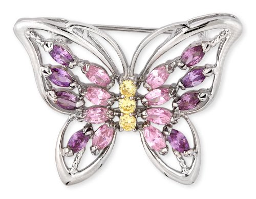 Marquise C.Z. Pink Sapphire Amethyst Round Canary Butterfly Pin (Nice Holiday Gift, Special Black Firday Sale)