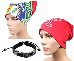 Sushito Red Classic Wollen Beanies Cap For Men With Fancy Headwrap & Wrist Band