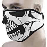 2 In 1 Unique Reversible Windproof Black Thermal Tribal Classic Skull Soft Neoprene Half Face Mask Facemask Headwear One Size Fits All