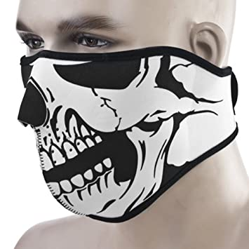 30376979 2 In 1 Unique Reversible Black White Tribal Classic Skull Soft Neoprene  Half Face Mask Protective Facemask Headwear Motorcycle ATV Biker Cycling,Face  Mask ...