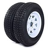 "Set of 4 Trailer Tires & Rims ST205/75D15 F78-15 205/75-15 15"" LRC 5 Lug White Spoke"