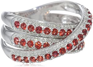 Sterling Silver Red Sapphire and 1/2cttw Diamond Criss-Cross Ring, Size 7 from The Aaron Group - HK DI