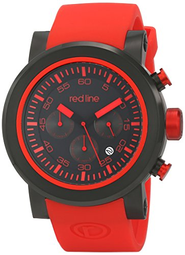 Red Line 50050-BB-01-RDAS 50mm Stainless Steel Case Red Rubber Mineral Men's Watch