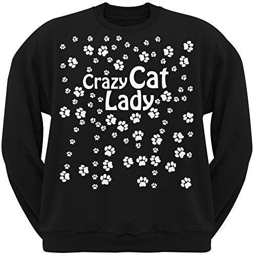 Crazy Cat Lady Paw Prints Black Adult Crew Neck Sweatshirt - Small