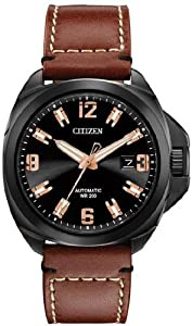 Citizen Men's NB0075-11F Grand Touring Signature Automatic Brown Leather Strap Watch
