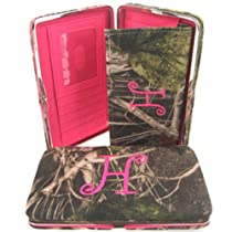 "Soft Camo Initial "" H "" Thick Flat Wallet Clutch Purse Hot Pink Camoflauge"