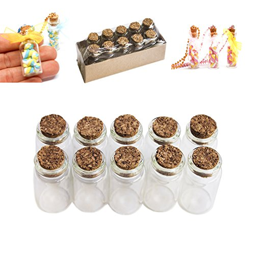 Mini Glass Bottles Cork Tops for Camping Project, Arts & Crafts, Jewelry, Stranded Island Message, Wedding Wish, Party Favors (10 Pack) by Super Z Outlet (Charm Bottles compare prices)