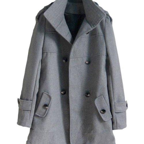 Amazon.co.jp: (グローウィン)growin コート スプリングコート ピーコート アウター 大きいサイズ M L XL サイズ size レディース トレンチコート グレー: 服&ファッション小物通販