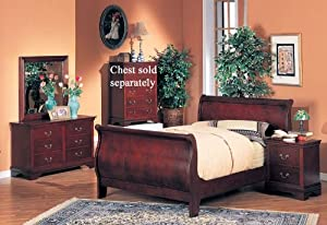 4pc Full Size Sleigh Bedroom Set Louis Philippe Style In Cherry Finish Kitchen Dining
