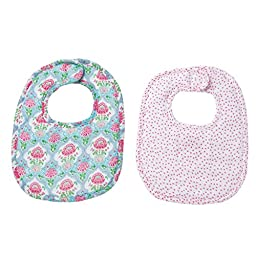 Mud Pie Easter Spring Garden Baby Girl Feeding Bamboo Floral Bib Set