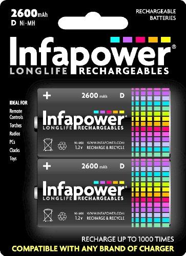 Infapower 2 piles rechargeables LR20 2600 mAh (Import Royaume Uni)