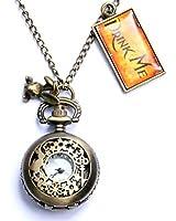 Hmxpls Vintage Drink Me Pocket Watch Necklace Quartz Watch Alice in Wonderland Rabbit