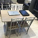 Mbel-Akut-Essgruppe-1-Tisch-mit-4-Sthlen-Metallgestell-silberfarbig-Holz-Sonoma-Eiche-Dekor