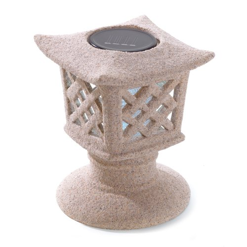 Gifts & Decor Solar Powered Ceramic Outdoor Pagoda Lamp