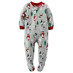 Carter\'s Baby Boys\' 1-Piece Fleece Footed Pajamas (3T, Gray Holiday Print)