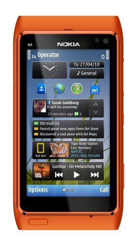 Nokia N8 Unlocked GSM Touch Screen Phone Featuring GPS with Navigation and 12MP Camera–U.S. Version with Warranty (Orange)