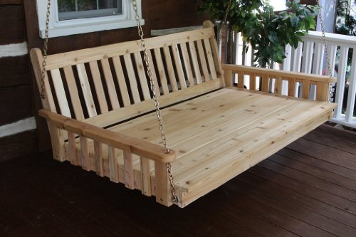 Outdoor 5' Traditional English Swing Bed - Oversized Porch Swing - Stained- Amish Made Usa -Gray