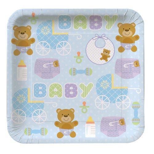 Creative Converting Baby Shower Teddy Baby Blue 8 Count Paper Lunch Plates