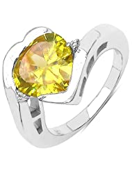 5.77CTW Yellow & White Cubic Zircon .925 Sterling Silver Heart Shape Ring