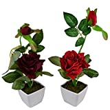 Thefancymart Set Of 2 Piece Artifical Rose Plants With Pots Style Code -13