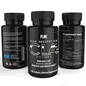 Paradigm Pure CLA Supplement, Increase Lean Muscle Mass, Burn Stubborn Belly Fat, Lose Weight, Conjugated Linoleic Acid, All Natural Weight Loss and Fat Burner Supplement, Non GMO Safflower Oil Formula, 120 soft gels, 100% Money Back Guarantee*