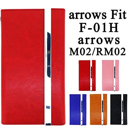docomo arrows Fit F-01H arrows RM02 arrows M02 用 手作り 本革調仕立て 手帳型ケース 【内側ケース:シリコン】 [ arrows fit arrowsfit F01H f-01h m02 rm02 アローズfit アローズ FIT ドコモ simフリー アローズm02 アローズrm02 手帳 手帳ケース 手帳型 手帳型ケース スマホ スマホケース スマホカバー ケース カバー f01h ]【ノーブランド品】 (レッド)