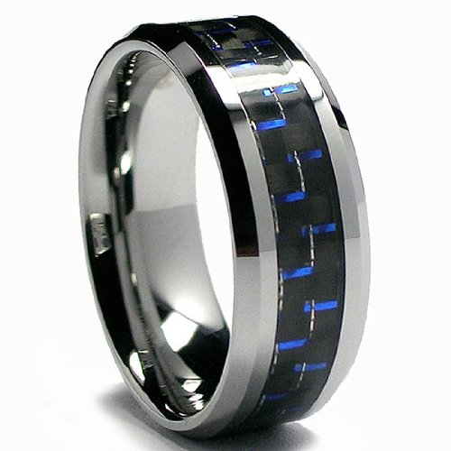 Men's Tungsten Carbide Ring with Black & Blue Carbon Fiber Inlay
