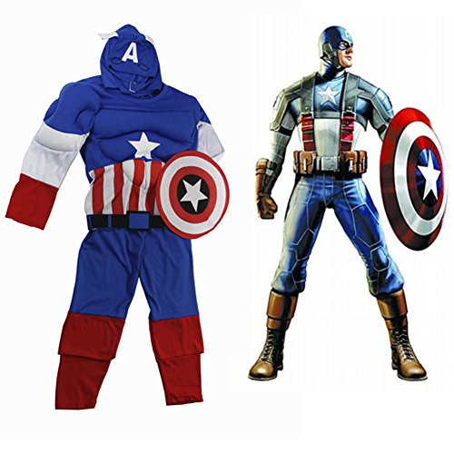 Oisk Soldier Movie 2 Captain America Classic Muscle Boys Halloween Costume