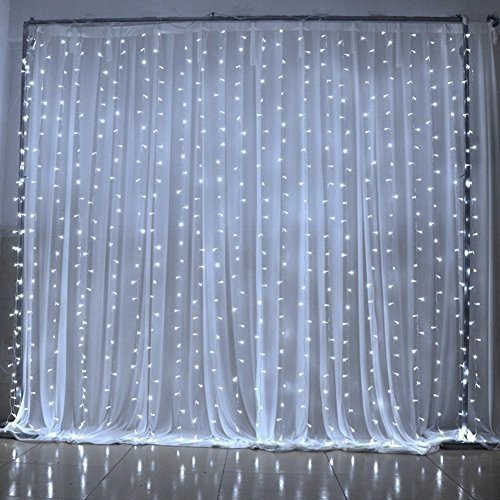 SOLMORE Window Curtain Light 3m*3m 300led Christmas Light Icicle Lights Festival Curtain String Fairy Wedding Led Lights for Wedding, Party, Window, Home Decorative Garden Decorative 110v Us Plug (Pure White)