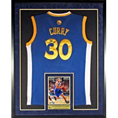 Stephen Curry Autographed Golden State Warriors Jersey (Away Blue) Framed (COA) by Sports Gallery Authenticated
