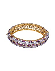 Gehna Hand Crafted Bangle/Bracelet Studded With Pink Tourmaline & Cubic Zircon Stones