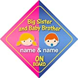 Big Sister And Baby Brother On Board Personalised Car Sign New Baby / Child Gift / Present