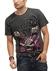 Chlorophile Men's Round Neck Cotton T-Shirt (Brd_Anthra Melange_Large)