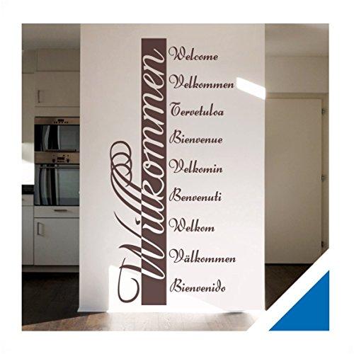 wandtattoo willkommen in 10 sprachen inkl rakel ban03 azurblau 120 x 57 cm mit farb u. Black Bedroom Furniture Sets. Home Design Ideas