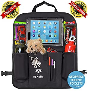 Luxury Car Back Seat Organizer with Thermo Pockets & Tablet Holder - Touch Screen Pocket for Tablets up to 11