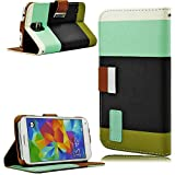 myLife (TM) Satin Black and Teal - Stacked Design - Koskin Faux Leather (Card, Cash and ID Holder + Magnetic Detachable Closing + Hand Strap) Slim Wallet for NEW Galaxy S5 (5G) Smartphone by Samsung (External Rugged Synthetic Leather With Magnetic Clip + Internal Secure Snap In Hard Rubberized Bumper Holder + Lifetime Warranty + Sealed Inside myLife Authorized Packaging)