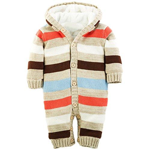 ZOEREA Tutine neonato Maglione bambino cappuccio Maglioni Cardigan bimba Tutina pagliaccetto Giacca a strisce multicolore