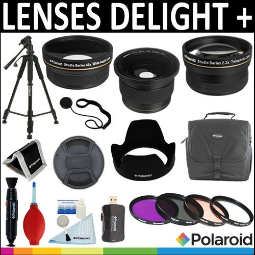 Polaroid Studio Series .42X HD Super Fisheye Lens Polaroid .43X HD Wide Angle Lens Polaroid 2.2x HD Telephoto...