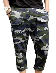 Men Hip Pocket Decor Velcro Closure Design Fashion Capris Pants