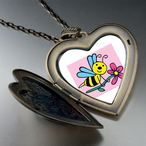 Spring Bee Flower Photo Large Pendant Necklace