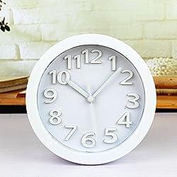 FirstDecor 5'' Arabic Numerals Vintage Pattern Silent Non-ticking Analog Quartz Desk Clock Alarm Clocks Round Table Clock 3D Clock