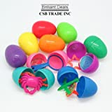 Easter Eggs Toy Filled - Hinged Together for Easy Assembly - 10 Bright Shiny Colors (24 Pc)
