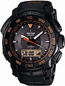 unisex Casio PRG550-1A4Mns Solar Triple Sensor Orange Blk resin strap Black dial