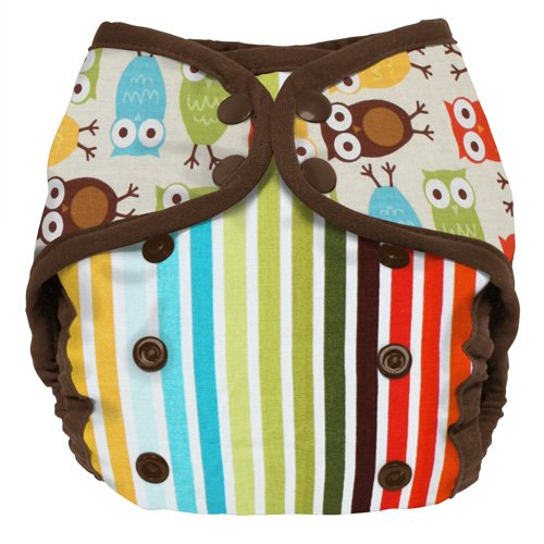 Planet Wise Diaper Cover, Owl Stripe, Size 1 - 1