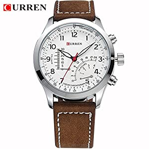 High Quality Curren 8152 Casual Men's Leather Business Watches Quartz Wristwatch Boy Tachymeter Watches White
