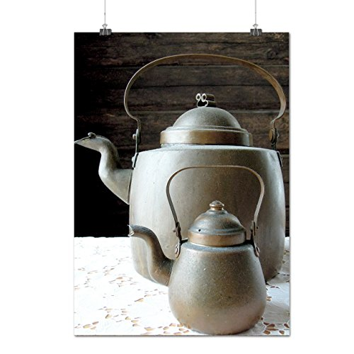 Old Style Iron Kettle Big Teapot Matte/Glossy Poster A2 (17x24 inches) | Wellcoda (Cone Tea Kettle compare prices)