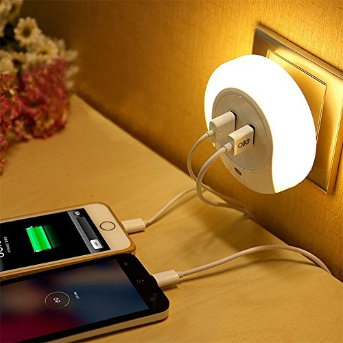 Onepalace LED Night Light - Automatic Dusk to Dawn Sensor - Dual USB Wall Plate Charger - Plugin Wall Light Nightlight for Kid's Baby Room, Bathrooms, Bedrooms, Hallway, Living Room, Kitchen