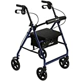 "Drive Medical Aluminum Rollator Walker Fold Up and Removable Back Support, Padded Seat,7.5"" Wheels, Blue"